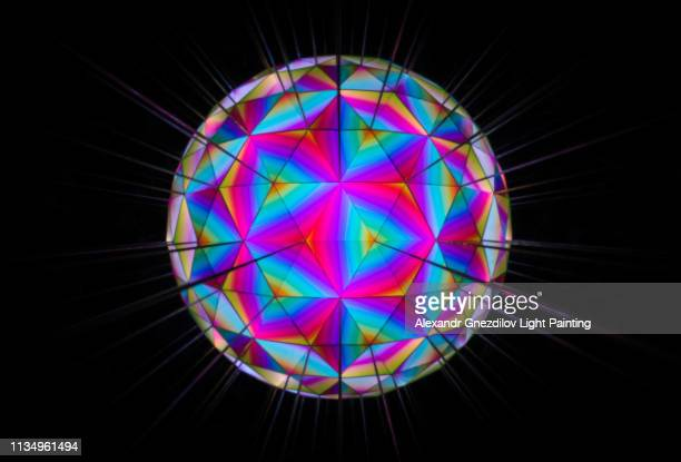 abstract kaleidoscope ball/sphere (light painting) - stereoscopic image stock pictures, royalty-free photos & images