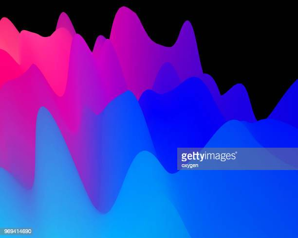 abstract landscape background. 3d waves colorful illustration - anhöhe stock-fotos und bilder