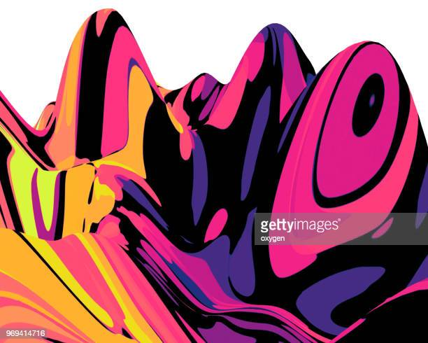 Abstract landscape background. 3d waves colorful illustration