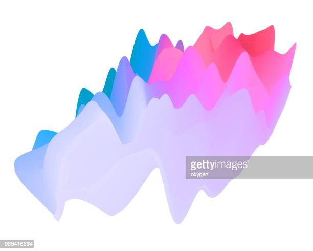 abstract landscape background. 3d waves colorful illustration - topography stock pictures, royalty-free photos & images