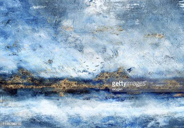 abstract landscape oil painting on canvas with gold glitter - fine art painting stock pictures, royalty-free photos & images