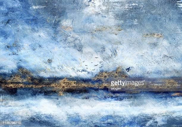 abstract landscape oil painting on canvas with gold glitter - kunstgemälde stock-fotos und bilder