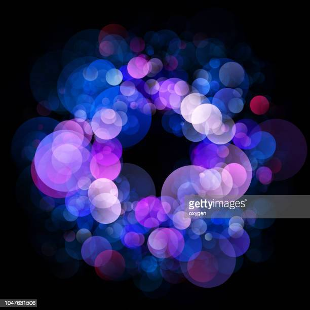 abstract light circle whith bokeh on black - circle pattern stock pictures, royalty-free photos & images