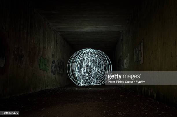 Abstract Light Painting In Tunnel