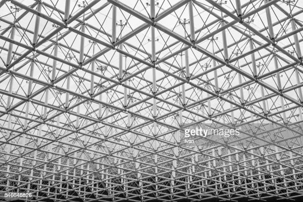 abstract line structure ceiling pattern - geometric design stock photos and pictures
