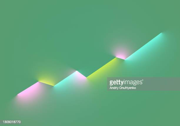 abstract linear moving up diagram made out of glowing neon lights. - infographics stock pictures, royalty-free photos & images