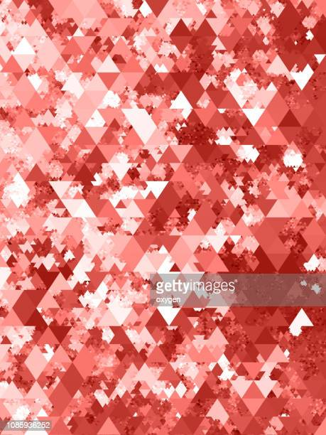 abstract living coral color geometric triangle background - triangle percussion instrument stock photos and pictures