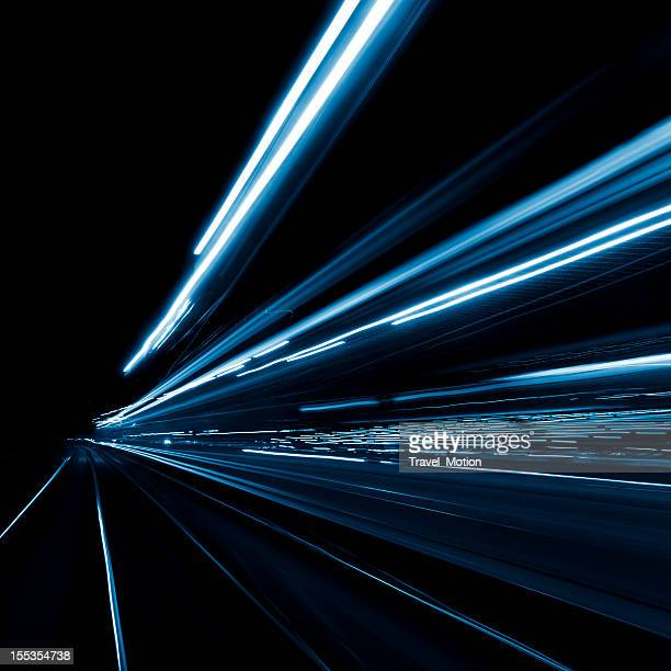 Abstract, long exposure, blue, and blurred city lights