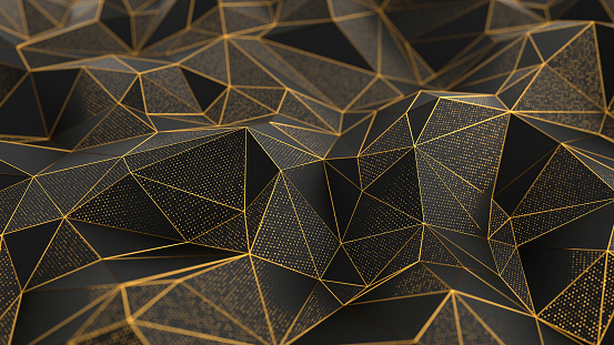 Abstract low-poly black background with golden lines 1084221488