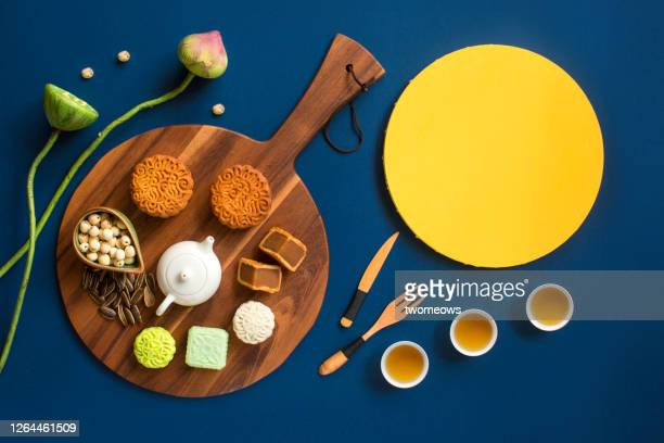abstract mid autumn festival food still life. - moon cake stock pictures, royalty-free photos & images