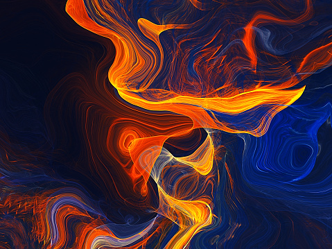 Abstract morphing Yellow and Blue shapes background - gettyimageskorea