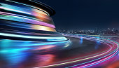 Abstract motion curvy urban road