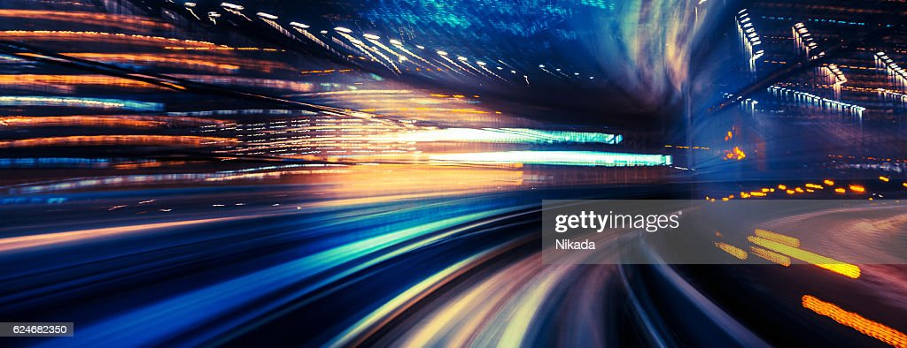 abstrakt motion-Verschwommene Ansicht von einem fahrenden Zug : Stock-Foto