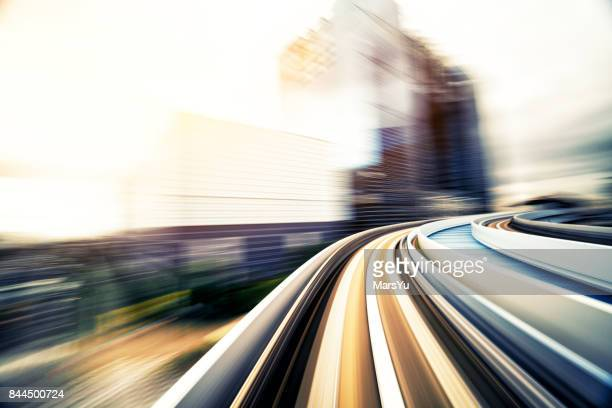 Abstract motion-blurred view from a moving train