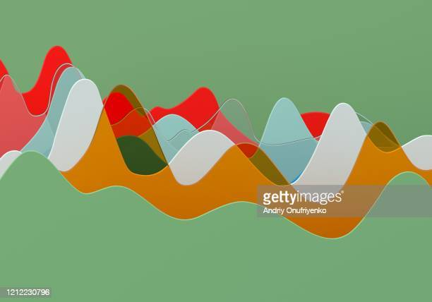 abstract multi colored curve chart - data stock pictures, royalty-free photos & images