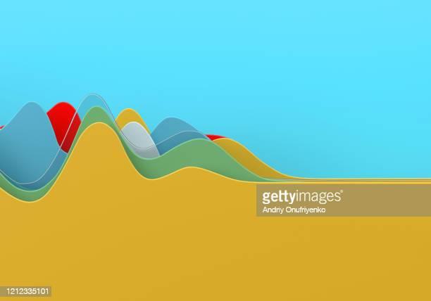 abstract multi colored curve chart - pandemia foto e immagini stock