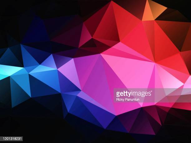 abstract multi colored geometric polygon on black background - kristallglas stock-fotos und bilder