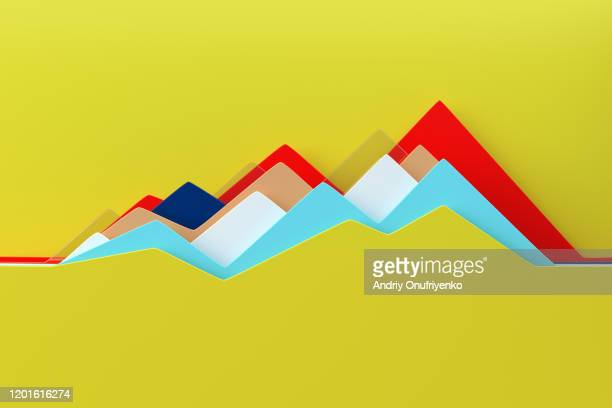 abstract multi colored line chart - wachstum stock-fotos und bilder