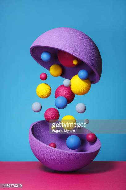 abstract multi-colored objects on colored background - shape stock pictures, royalty-free photos & images