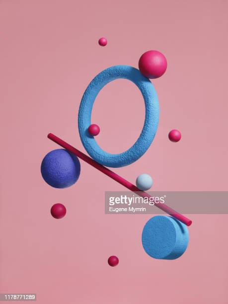 abstract multi-colored objects on colored background - three dimensional stock pictures, royalty-free photos & images