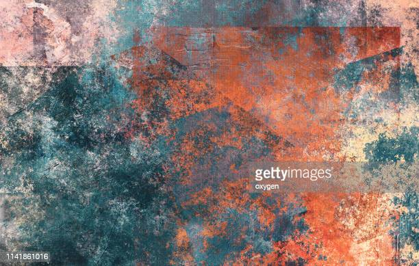 abstract multicolored stucco texture background on canvas - elemento de desenho - fotografias e filmes do acervo