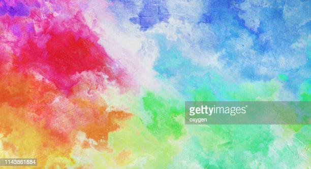 abstract multicolored texture background on canvas - rainbow stock pictures, royalty-free photos & images