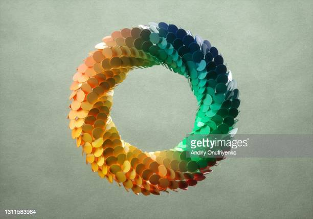 abstract multicoloured circular looped shape - social issues stock pictures, royalty-free photos & images