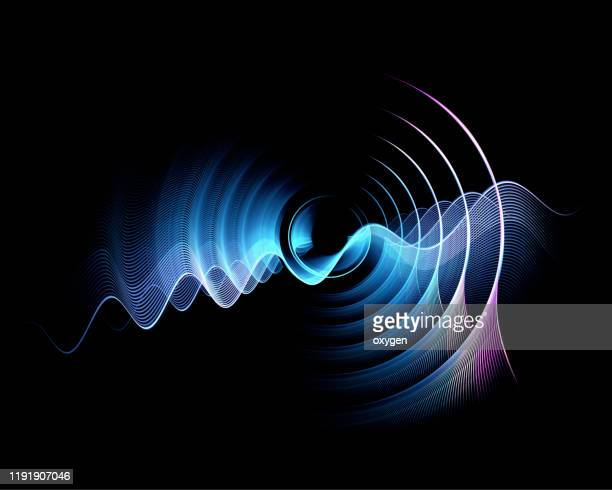 abstract neon circles digital fractal black background - atomic imagery imagens e fotografias de stock