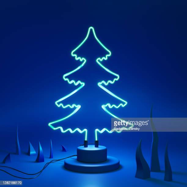 abstract neon lamp christmas tree shape background object - holiday stock pictures, royalty-free photos & images