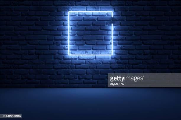 abstract neon light background,3d render - muro di mattoni foto e immagini stock