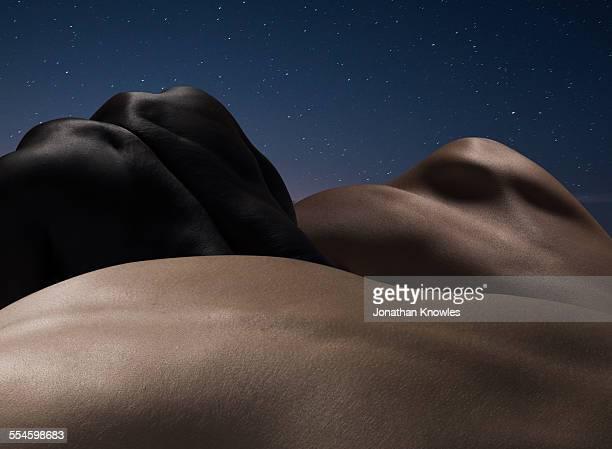 abstract nude bodies, different colours - donna schiena nuda foto e immagini stock