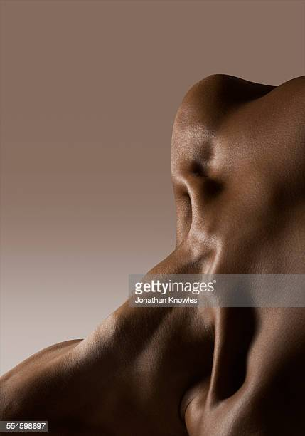 Abstract nude female,close up on neck, upper chest
