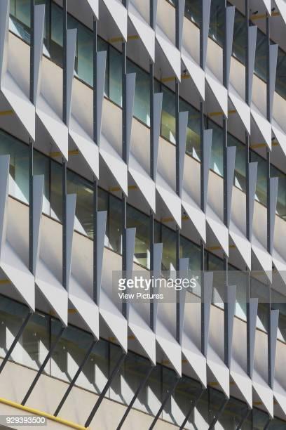 Abstract of aluminium sun shading system. Siemens Masdar, Abu Dhabi, United Arab Emirates. Architect: Sheppard Robson, 2014.