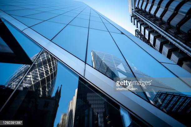 abstract of glass buildings in city of london - corporate business stock pictures, royalty-free photos & images
