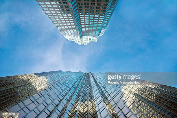 Abstract of highrise buildings in Toronto city which has contemporary architecture with lot of glass windows beautiful shapes lines and patterns