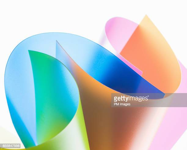 Abstract of multi colored plastic sheets intertwined