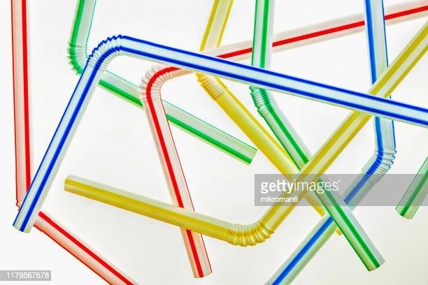 abstract of plastic drinking straws, source of pollution - straw stock pictures, royalty-free photos & images