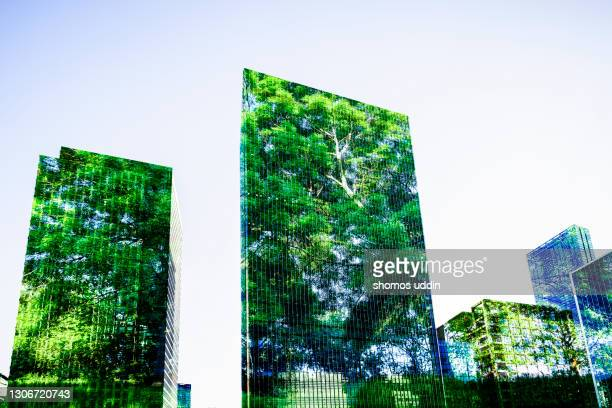 abstract of trees and buildings - building exterior stock pictures, royalty-free photos & images