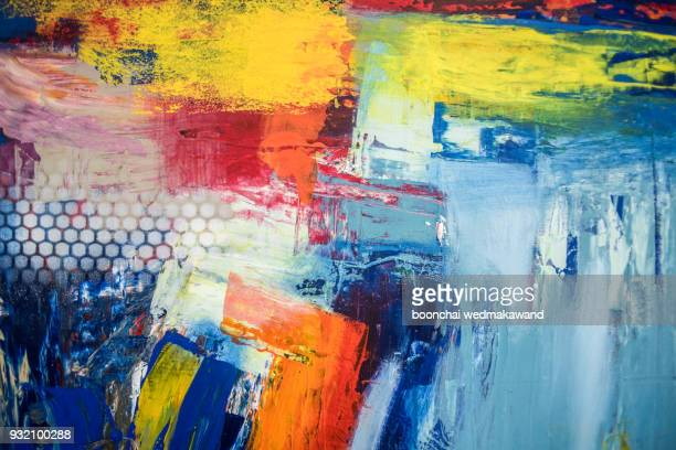 abstract oil paint texture on canvas, background - dipinto foto e immagini stock
