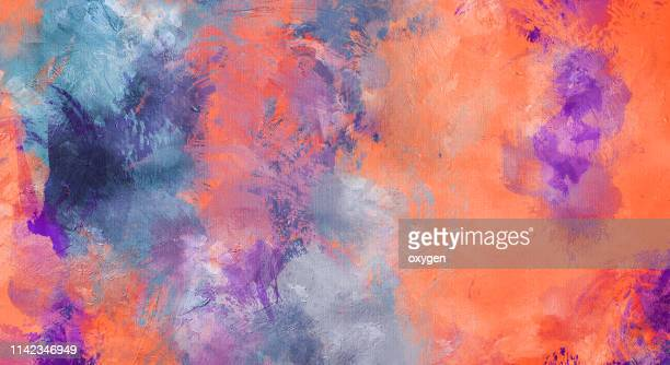 abstract orange and violet stucco texture background on canvas - impressionism stock pictures, royalty-free photos & images