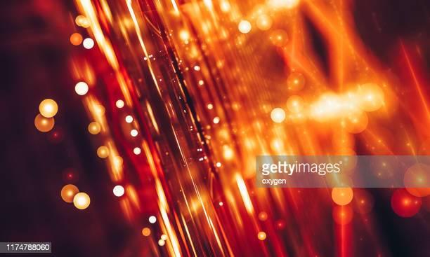 abstract orange ray bokeh sparkling circle background - 火花 ストックフォトと画像