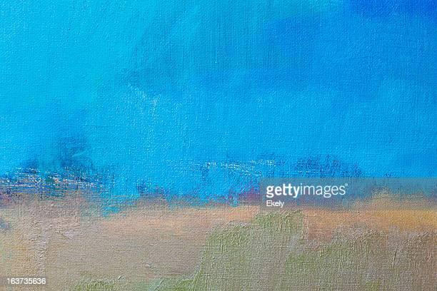 abstrato pintado de azul e bege com arte - pintura a óleo imagem pintada - fotografias e filmes do acervo