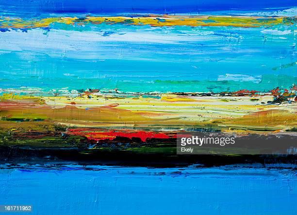 abstrato pintado de azul e verde de fundo de arte. - pintura a óleo imagem pintada - fotografias e filmes do acervo
