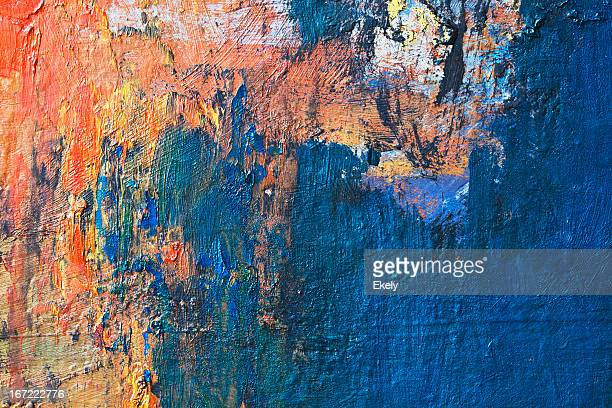 Abstract painted blue and orange  art backgrounds.