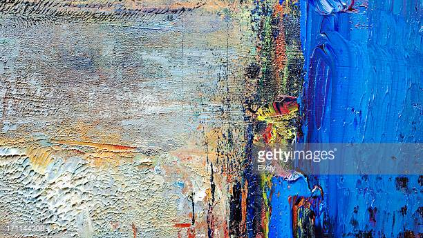 abstract painted  blue art backgrounds. - oil painting stock pictures, royalty-free photos & images