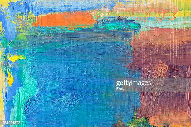 Abstract painted blue green and yellow art backgrounds.