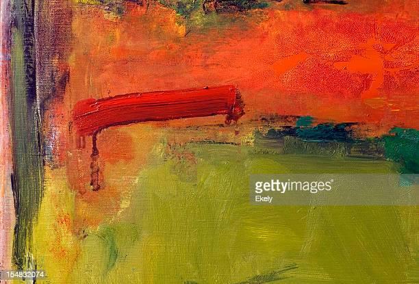 Abstrato Arte pintada de vermelho e verde de fundo.
