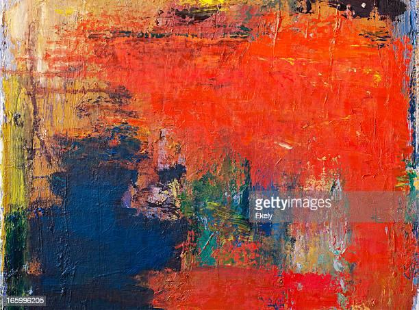 Abstrato Arte pintada de fundo vermelho.