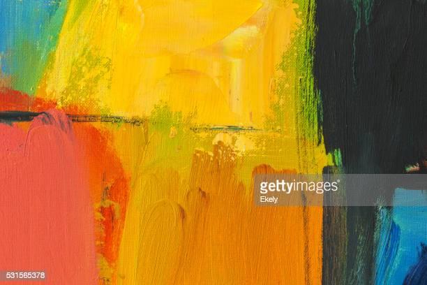 Abstrait rouge peint vert, jaune et bleu art arrière-plans.