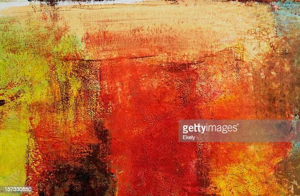 Abstrato Arte pintada de fundo amarelo e vermelho.